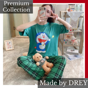 Harga piyama karakter import motif dorameon set baju tidur wanita set   | HARGALOKA.COM