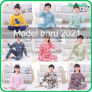 Harga set impor baju tidur anak kecil unisex lucu piyama lengan panjang   yellow dragon 100 4 5tahun   HARGALOKA.COM