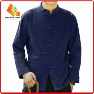 Harga baju muslim pria modern lengan panjang   baju koko model baru mura   biru navy | HARGALOKA.COM