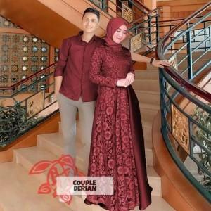 Harga derian couple dress brukat plus kemeja   marun all | HARGALOKA.COM
