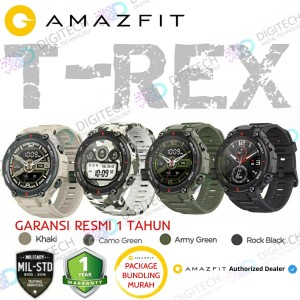 Harga jam tangan amazfit t rex smartwatch gps military std smart watch t rex   rock black tanpa | HARGALOKA.COM