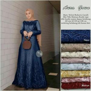 Harga gamis brukat syari aura gown dress kombinasi bordir roberto cavali   | HARGALOKA.COM