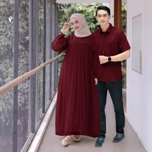 Harga nuraini couple muslim dress plus kemeja   marun all | HARGALOKA.COM