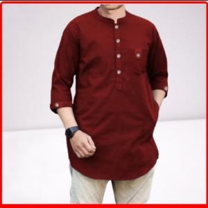 Harga baju koko cowok pria model baru   baju muslim modern murah size jumbo   marun | HARGALOKA.COM