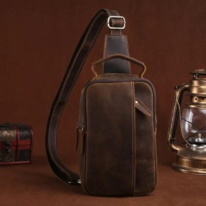 Harga tas kulit asli pria premium crazy horse   sling bag pria kulit | HARGALOKA.COM