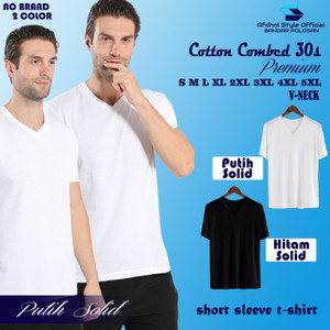Harga kaos polos pria laki kerah v neck cotton combed 30s lengan pendek cod   | HARGALOKA.COM
