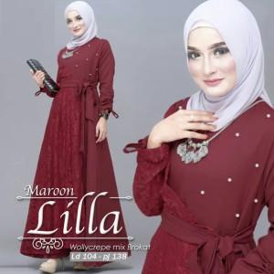 Harga gamis syar 39 i muslim lila dress wollycrape mix burkatpremium   | HARGALOKA.COM