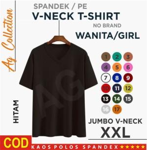 Harga kaos v neck wanita baju polos wanita kaos   hitam | HARGALOKA.COM