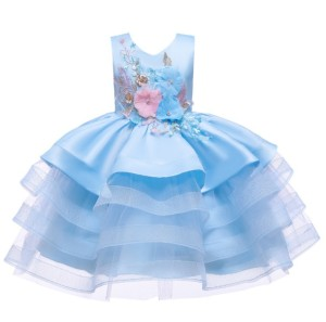 Harga baju pesta anak import premium elegant dress party layer wave | HARGALOKA.COM