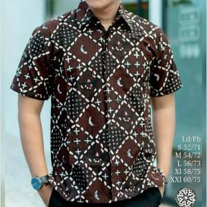 Harga baju kemeja pria batik tulis kombinasi lengan pendek zq 01   sogan | HARGALOKA.COM