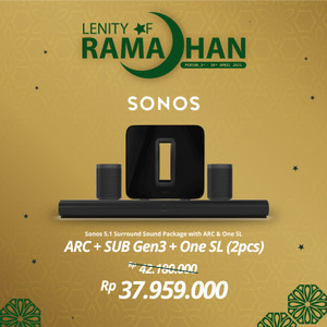 Harga sonos 5 1 2 sub gen3 arc amp two one sl wireless speaker hifi | HARGALOKA.COM