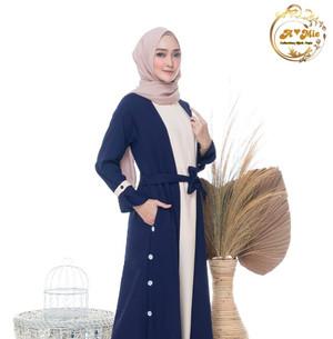 Harga baju gamis wanita gamis busui   navy mix latte | HARGALOKA.COM