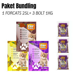 Harga paket bundling 1 forcats 25liter amp 3 bolt cat 1kg cat food promo | HARGALOKA.COM