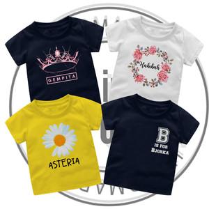 Harga baju kaos couple custom nama bayi anak combed premium   bpink bayi size   HARGALOKA.COM