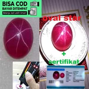 Harga batu ruby red 100persen original natural 6 star   oval | HARGALOKA.COM