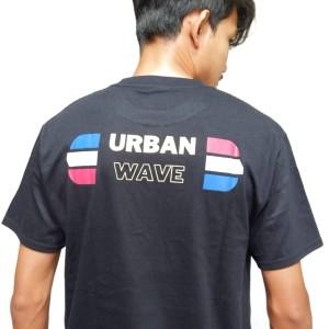 Harga kaos pria distro theme urban wave by yuzicon   hitam | HARGALOKA.COM