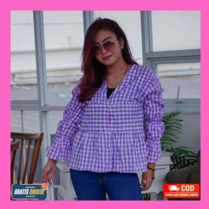 Harga blouse atasan wanita blouse korean style motif kotak | HARGALOKA.COM