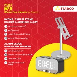 Harga starco tablet phone stand holder speaker bluetooth jam bundling | HARGALOKA.COM