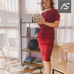 Harga dress wanita ineffable 07 kerja kantor formal   premium   coklat krem | HARGALOKA.COM