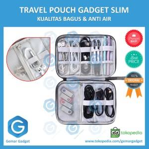Harga travel pouch gadget organizer tas kabel charger usb powerbank slim     HARGALOKA.COM