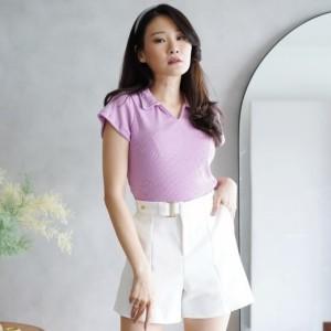 Harga colar v neck knit top   lilac   atasan wanita kaos | HARGALOKA.COM