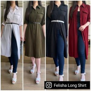 Harga pakaian wanita felisha long shirt real pic baju kerja baju pesta   | HARGALOKA.COM