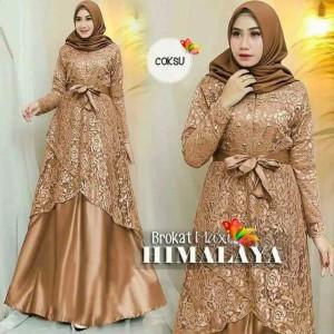 Harga gamis brukat terbaru murah baju pesta modern dress syari   coksu all size ld | HARGALOKA.COM