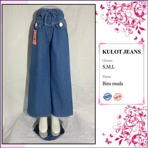 Harga grosir celana kulot anak perempuan jeans lepis polos 7 12 thn termurah   | HARGALOKA.COM