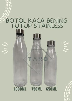 Harga botol kaca bening susu tutup stainless ready stock   650 | HARGALOKA.COM