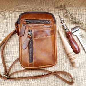 Harga tas kulit slempang unisex simple tas kulit sapi | HARGALOKA.COM