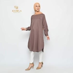 Harga naya tunic tunik tunik simple baju muslim baju muslim wanita   dark brown | HARGALOKA.COM