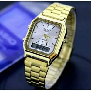 Harga jam tangan pria casio dual time digital free box baterai cadangan   gold   HARGALOKA.COM