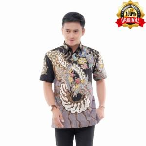 Harga kemeja batik lengan pendek batik tulis berfuring motif dua burung abu   | HARGALOKA.COM