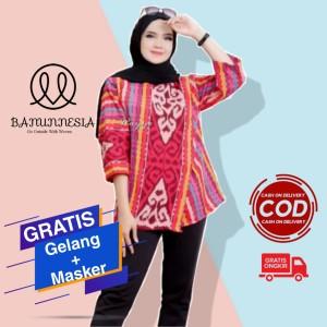Harga baju blouse tenun wanita etnik troso jepara baju kantor bahan tenun   | HARGALOKA.COM