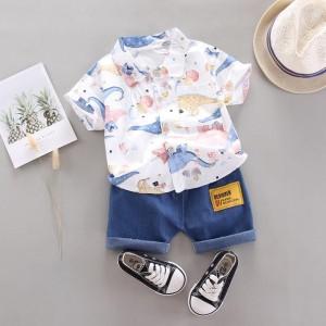 Harga baju setelan hem kemeja anak laki laki usia 2 3 4 tahun formal rapi   dino putih | HARGALOKA.COM