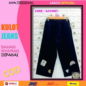 Harga 08 celana anak perempuan kulot jeans denim hitam 11  12 th gbr tempel   | HARGALOKA.COM