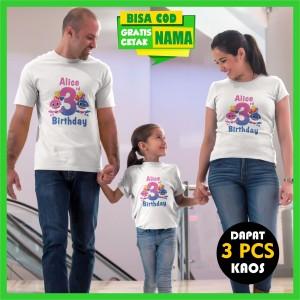 Harga baju kaos couple keluarga ulang tahun ultah birthday baby shark | HARGALOKA.COM