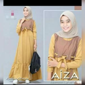 Harga baju gamis anak usia 10 12 th aiza dress busana muslim anak perempuan   kubus mocca | HARGALOKA.COM