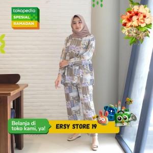 Harga aryana new daily set pajamas ori piyama set rayon   green white all | HARGALOKA.COM