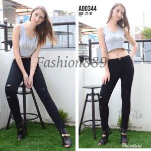 Harga celana jeans fashion wanita infilo highwaist ripped a00344   HARGALOKA.COM