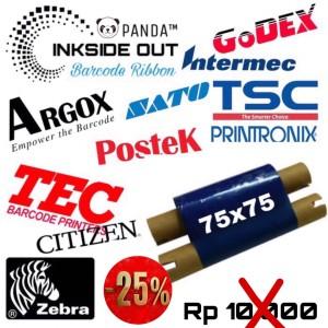 Harga 75mmx75m barcode ribbon wax face out panda thermal transfer | HARGALOKA.COM