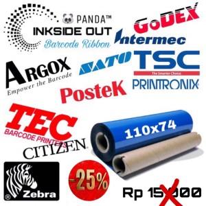 Harga 110mmx75m barcode ribbon wax face out panda thermal transfer | HARGALOKA.COM