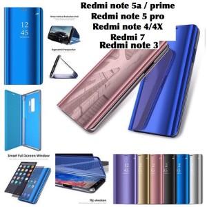 Harga flip cover mirror case xiaomi redmi 7 note 3 4 4x 5a prime 5 pro | HARGALOKA.COM