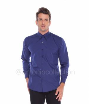 Harga kemeja pria biru polos lengan panjang baju lapangan seragam | HARGALOKA.COM