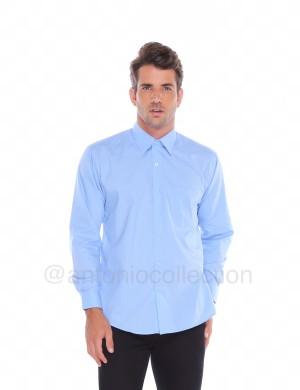 Harga kemeja pria biru langit muda polos lengan panjang baju | HARGALOKA.COM