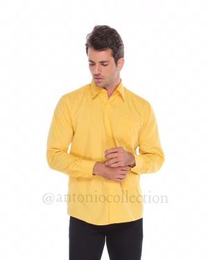 Harga kemeja pria kuning polos lengan panjang seragam baju lapangan | HARGALOKA.COM
