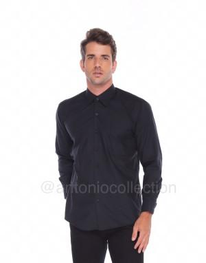 Harga kemeja pria hitam polos lengan panjang seragam baju lapangan | HARGALOKA.COM