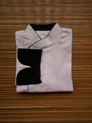 Harga chef jacket baju koki tangan panjang buttonless putih hitam | HARGALOKA.COM