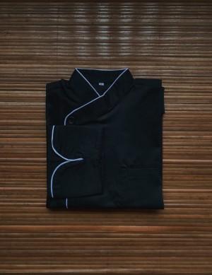 Harga chef jacket baju koki tangan panjang buttonless hitam | HARGALOKA.COM