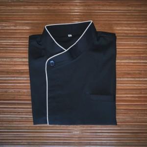 Harga chef jacket baju koki lengan pendek hitam | HARGALOKA.COM